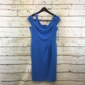 London Times Size 10 Ruched Scuba Crepe Dress Blue
